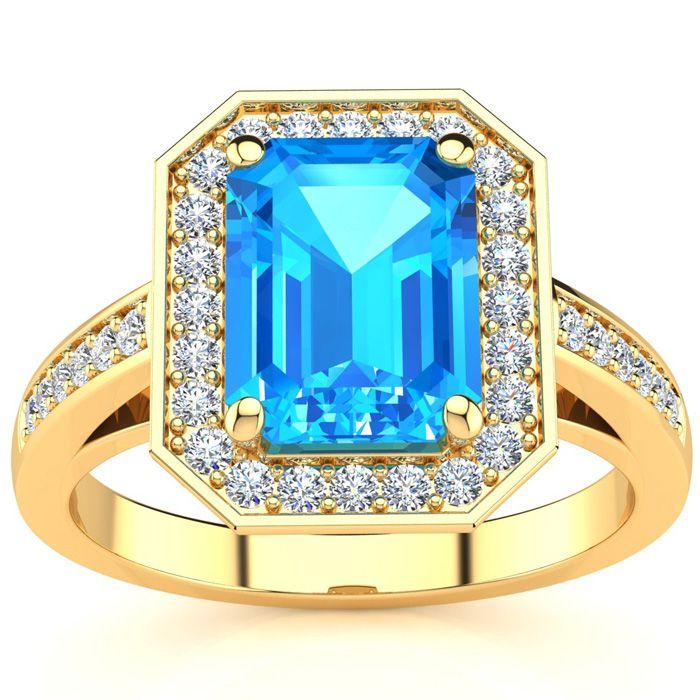 2 1/4 Carat Blue Topaz & Halo Diamond Ring in 14K Yellow Gold (5.