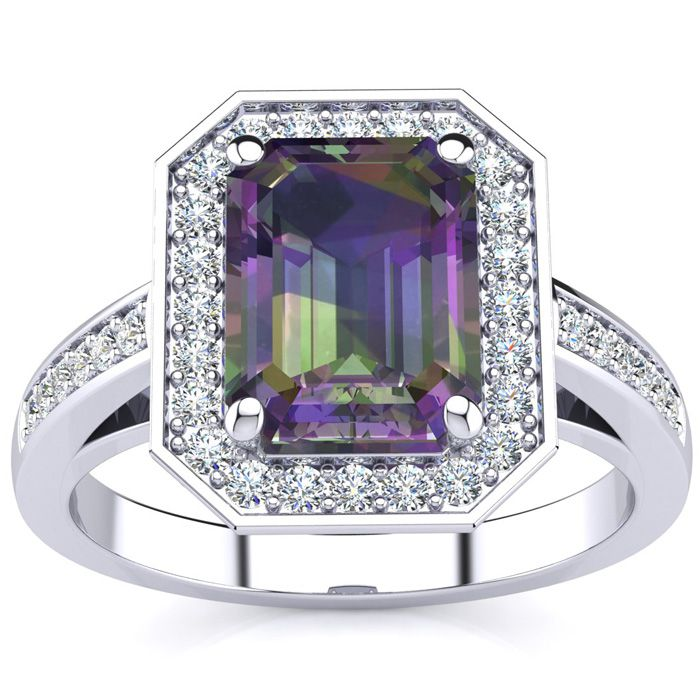 2 Carat Emerald Shape Mystic Topaz and Halo Diamond Ring In 14 Karat White Gold 24859