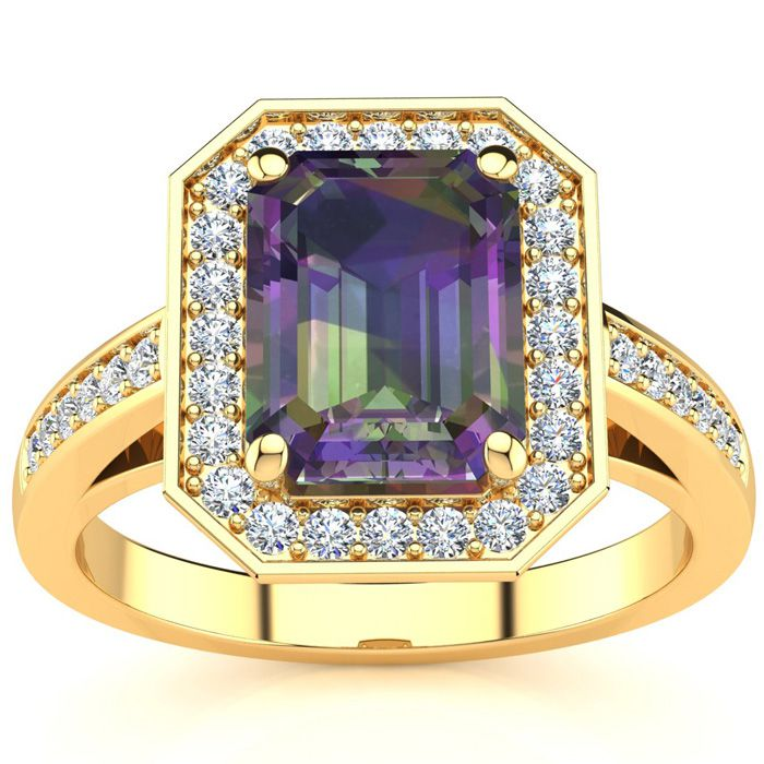 2 Carat Mystic Topaz & Halo Diamond Ring in 14K Yellow Gold (5.1
