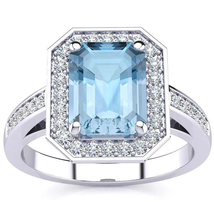 1 3/4 Carat Emerald Shape Aquamarine and Halo Diamond Ring In 14 Karat White Gold