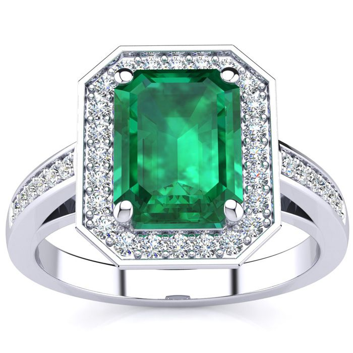 1 3/4 Carat Emerald Shape Emerald and Halo Diamond Ring In 14 Karat White Gold