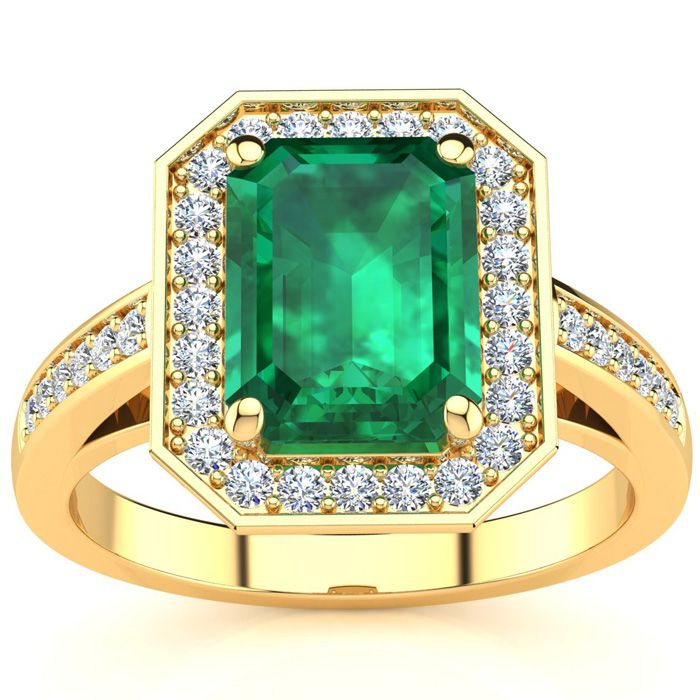 1 3/4 Carat Emerald Shape Emerald and Halo Diamond Ring In 14 Karat Yellow Gold
