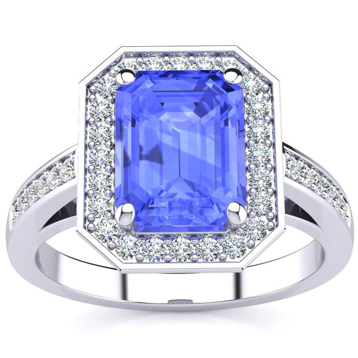 2 Carat Emerald Shape Tanzanite and Halo Diamond Ring In 14 Karat White Gold
