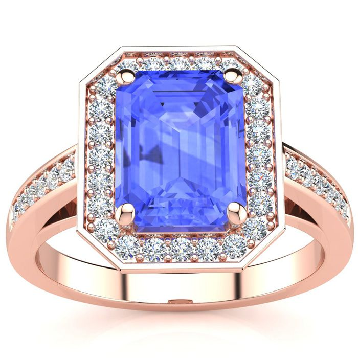 2 Carat Emerald Shape Tanzanite and Halo Diamond Ring In 14 Karat Rose Gold