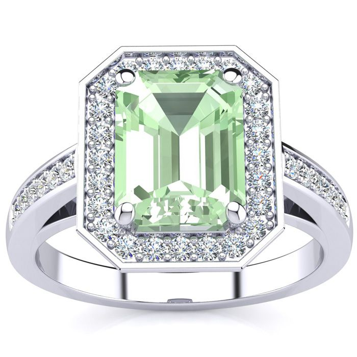 2 Carat Green Amethyst & Halo Diamond Ring in 14K White Gold (5.1