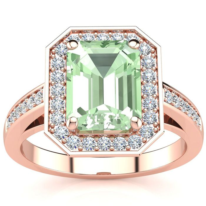 2 Carat Green Amethyst & Halo Diamond Ring in 14K Rose Gold (5.1