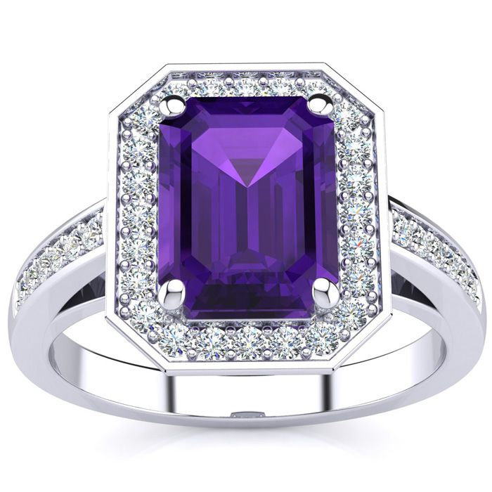 2 1/2 Carat Emerald Shape Amethyst and Halo Diamond Ring In 14 Karat White Gold