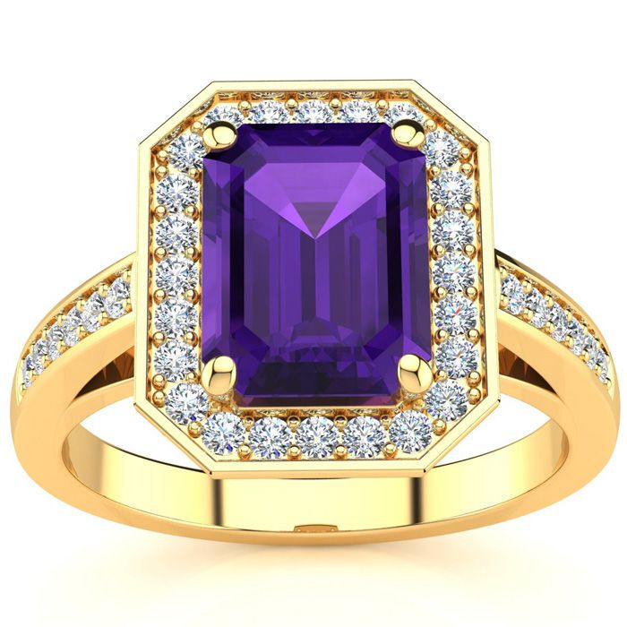 2 1/2 Carat Emerald Shape Amethyst and Halo Diamond Ring In 14 Karat Yellow Gold