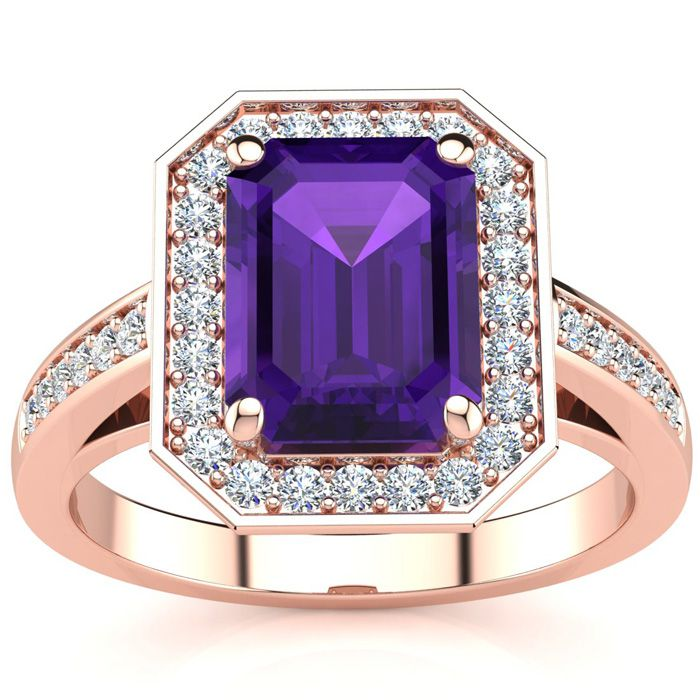 2 1/2 Carat Emerald Shape Amethyst and Halo Diamond Ring In 14 Karat Rose Gold
