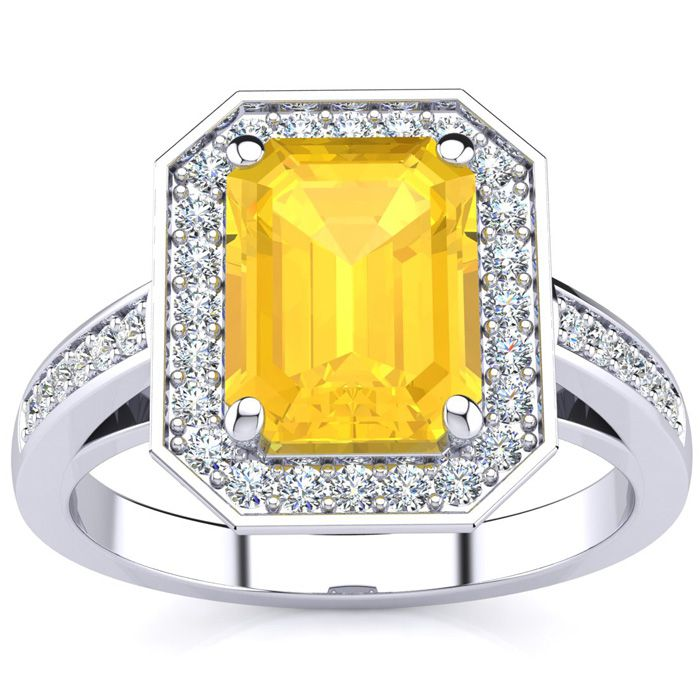2 1/2 Carat Emerald Shape Citrine and Halo Diamond Ring In 14 Karat White Gold