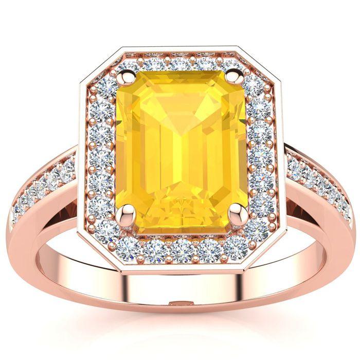 2 1/2 Carat Emerald Shape Citrine and Halo Diamond Ring In 14 Karat Rose Gold