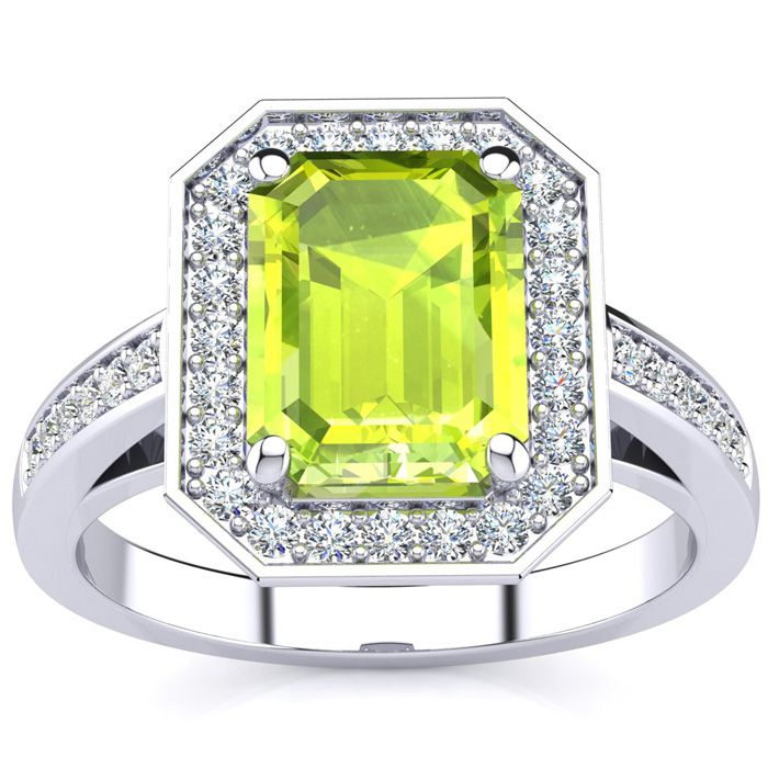 3 Carat Emerald Shape Peridot and Halo Diamond Ring In 14 Karat White Gold