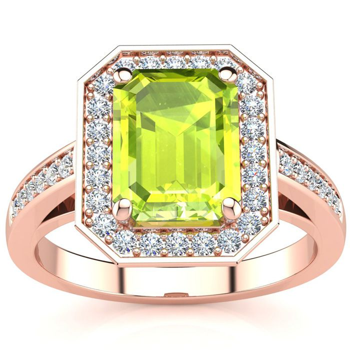 3 Carat Emerald Shape Peridot and Halo Diamond Ring In 14 Karat Rose Gold