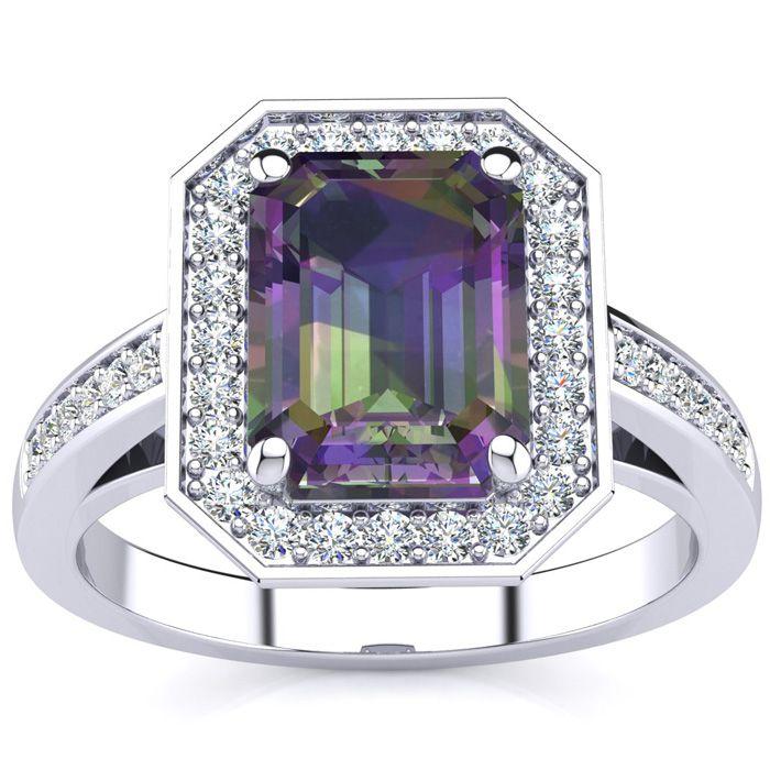 2.5 Carat Mystic Topaz & Halo Diamond Ring in 14K White Gold (5.4