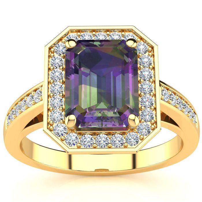 2.5 Carat Mystic Topaz & Halo Diamond Ring in 14K Yellow Gold (5.