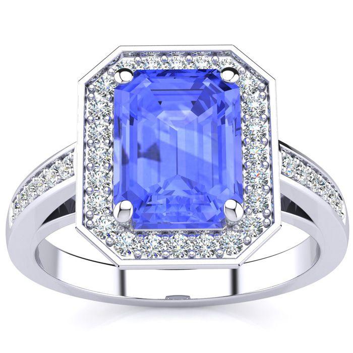 3 Carat Tanzanite & Halo Diamond Ring in 14K White Gold (5.4 g),