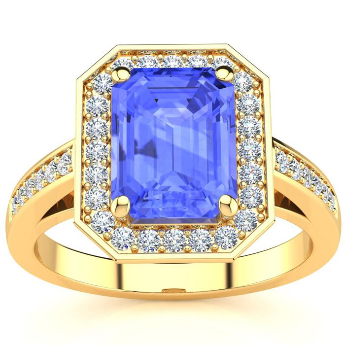3 Carat Emerald Shape Tanzanite and Halo Diamond Ring In 14 Karat Yellow Gold