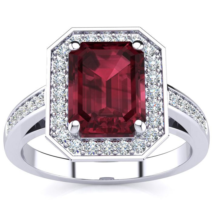 3 Carat Emerald Shape Garnet and Halo Diamond Ring In 14 Karat White Gold