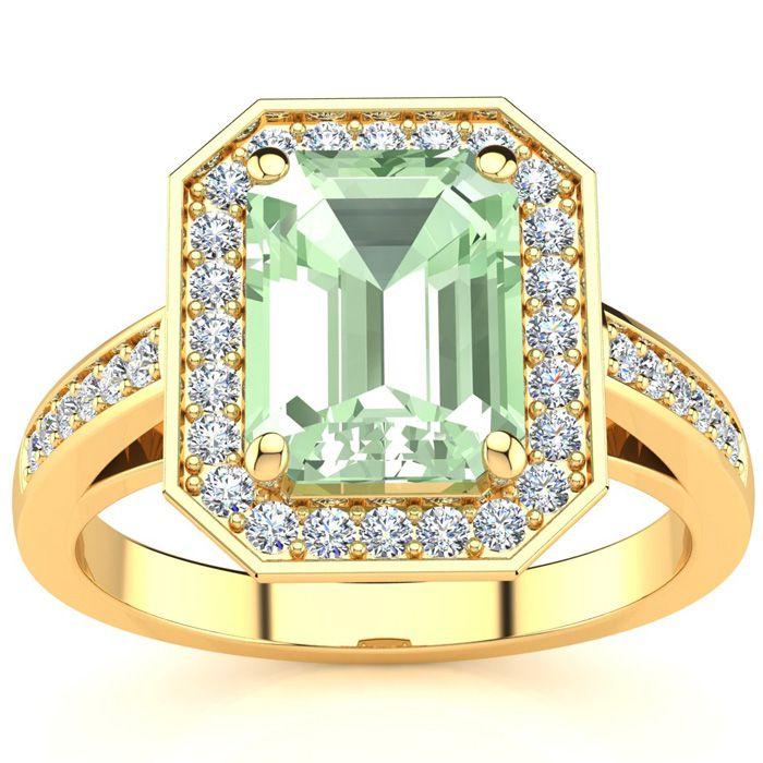 2.5 Carat Green Amethyst & Halo Diamond Ring in 14K Yellow Gold (
