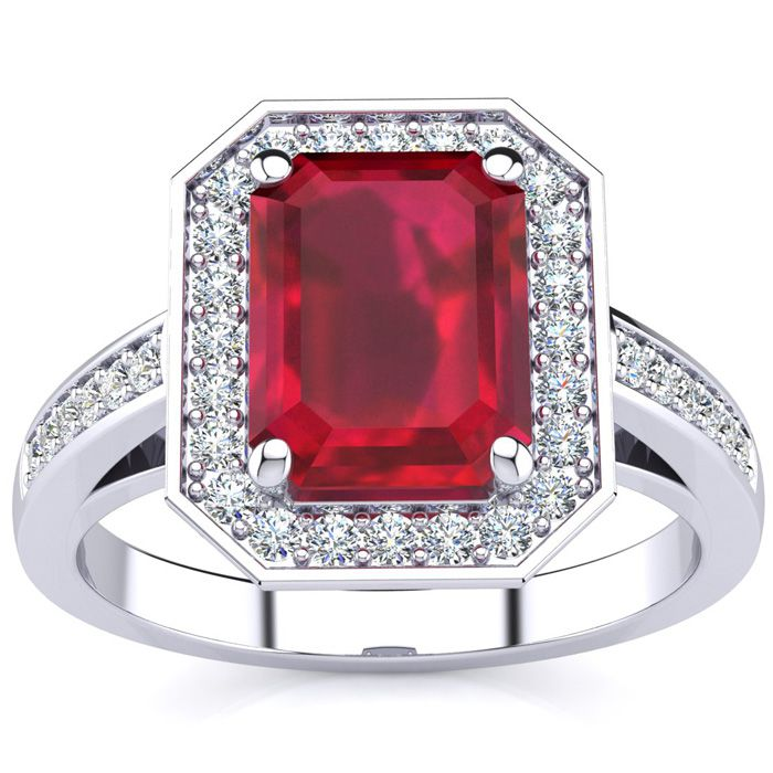 3 1/3 Carat Emerald Shape Ruby and Halo Diamond Ring In 14 Karat White Gold
