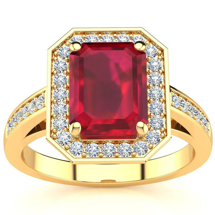 3 1/3 Carat Emerald Shape Ruby and Halo Diamond Ring In 14 Karat Yellow Gold