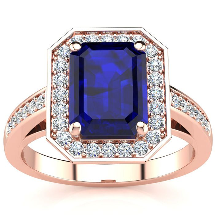 3 1/3 Carat Emerald Shape Sapphire and Halo Diamond Ring In 14 Karat Rose Gold