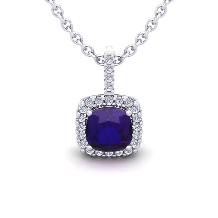 1 Carat Cushion Cut Amethyst & Halo Diamond Necklace in 14K White