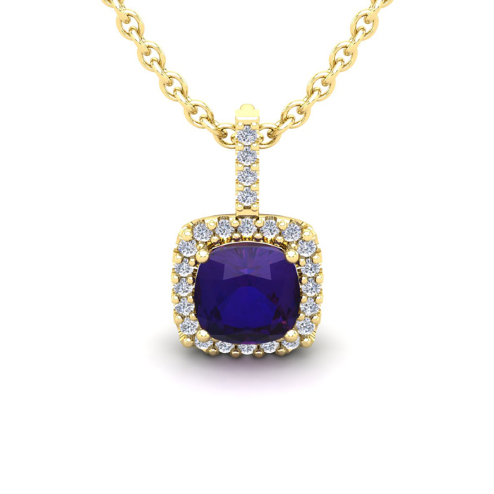 1 Carat Cushion Cut Amethyst & Halo Diamond Necklace in 14K Yello