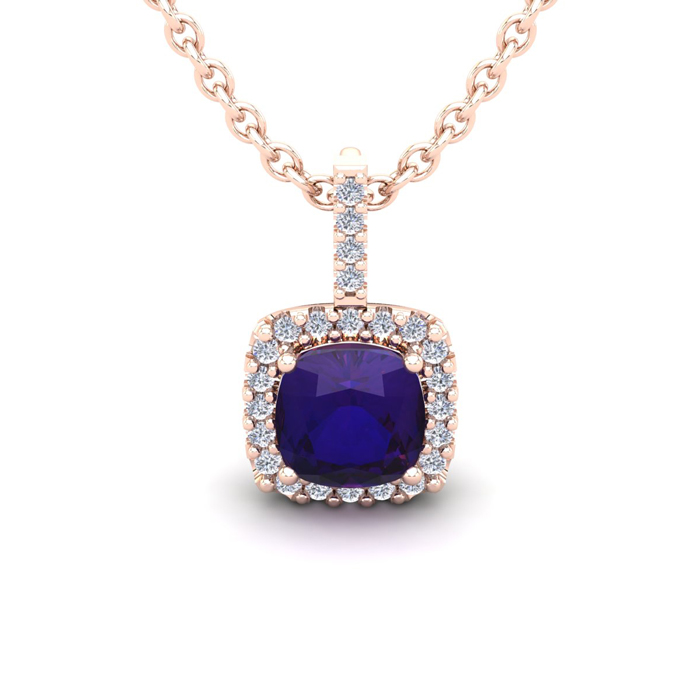 1 Carat Cushion Cut Amethyst & Halo Diamond Necklace in 14K Rose