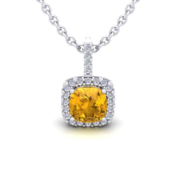 1 Carat Cushion Cut Citrine & Halo Diamond Necklace in 14K White