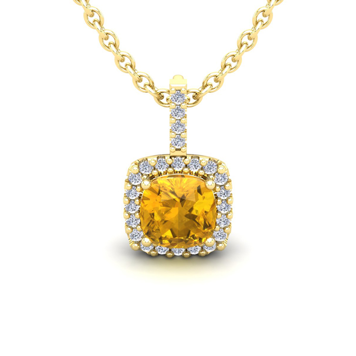 1 Carat Cushion Cut Citrine & Halo Diamond Necklace in 14K Yellow
