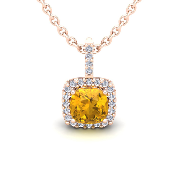 1 Carat Cushion Cut Citrine & Halo Diamond Necklace in 14K Rose G