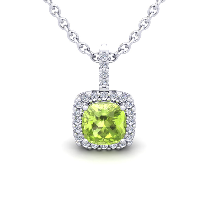 1.25 Carat Cushion Cut Peridot & Halo Diamond Necklace in 14K Whi