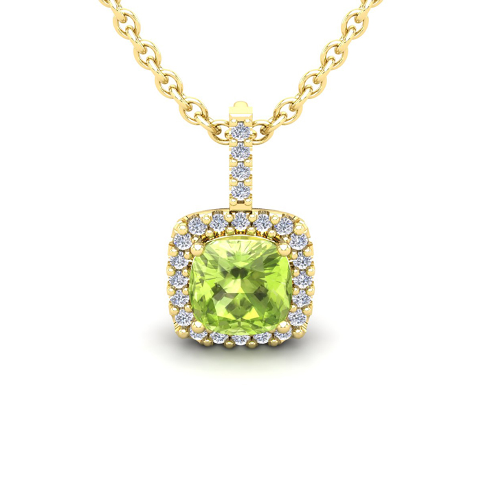 1.25 Carat Cushion Cut Peridot & Halo Diamond Necklace in 14K Yel