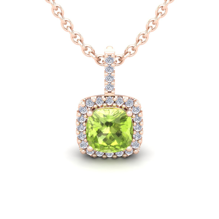 1.25 Carat Cushion Cut Peridot & Halo Diamond Necklace in 14K Ros