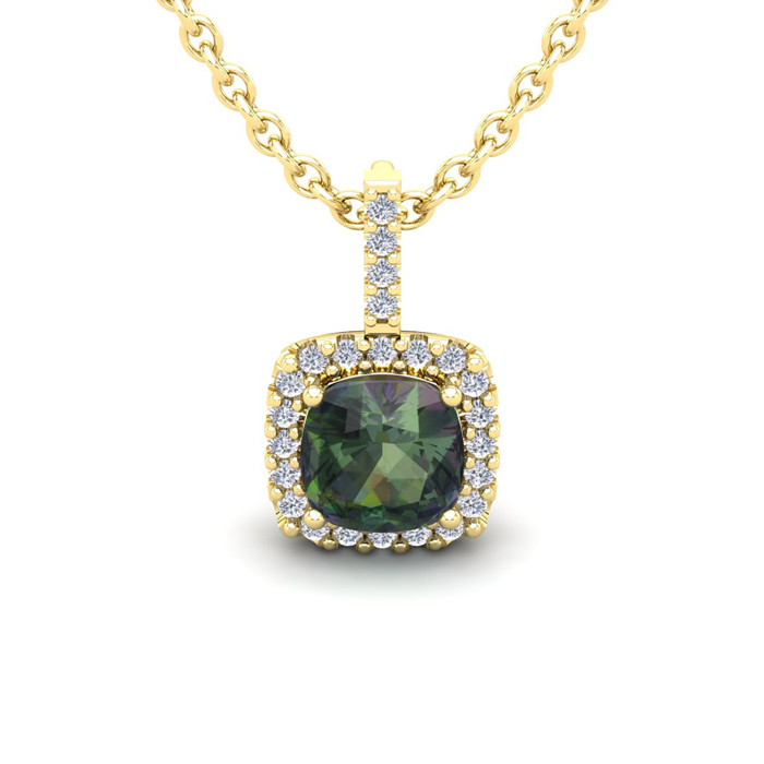 1 1/3 Carat Cushion Cut Mystic Topaz & Halo Diamond Necklace in 1