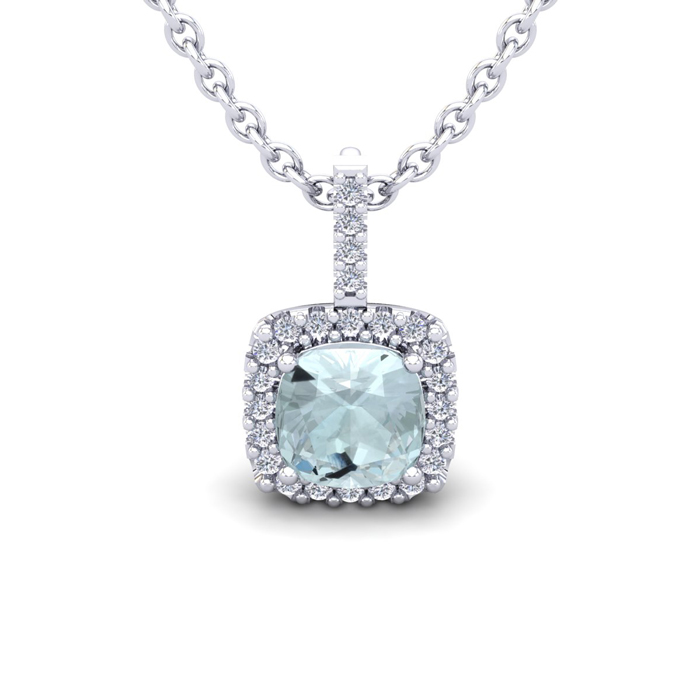 1 Carat Cushion Cut Aquamarine & Halo Diamond Necklace in 14K Whi