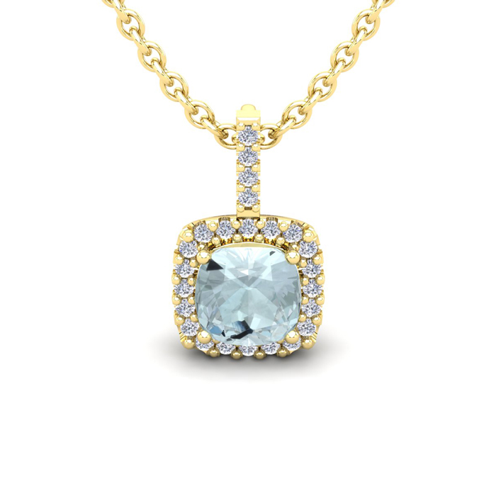 1 Carat Cushion Cut Aquamarine & Halo Diamond Necklace in 14K Yel