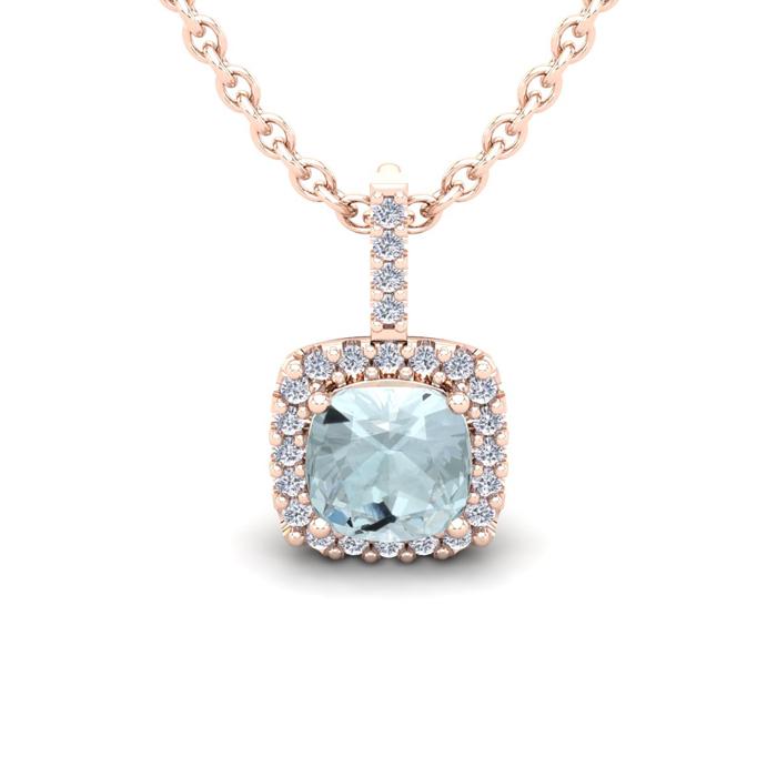 1 Carat Cushion Cut Aquamarine & Halo Diamond Necklace in 14K Ros