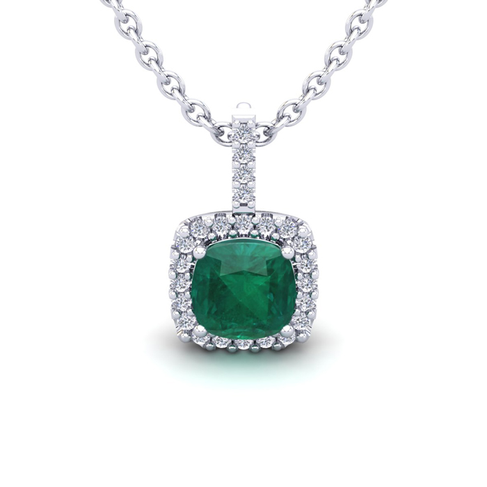 1.25 Carat Cushion Cut Emerald & Halo Diamond Necklace in 14K Whi