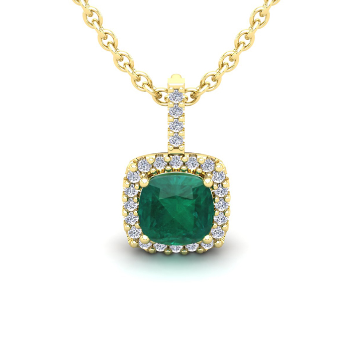 1.25 Carat Cushion Cut Emerald & Halo Diamond Necklace in 14K Yel