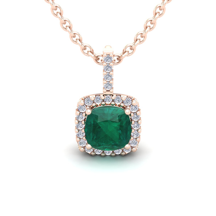 1.25 Carat Cushion Cut Emerald & Halo Diamond Necklace in 14K Ros