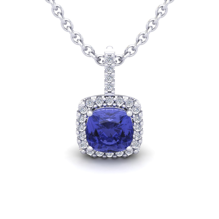 1 Carat Cushion Cut Tanzanite & Halo Diamond Necklace in 14K Whit