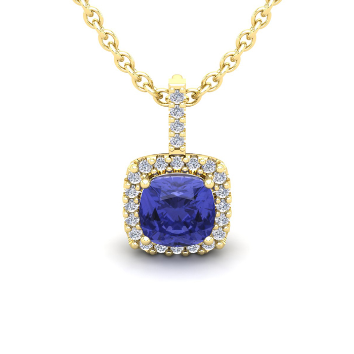 1 Carat Cushion Cut Tanzanite & Halo Diamond Necklace in 14K Yell