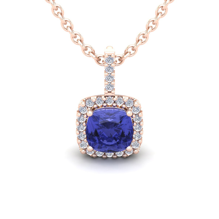 1 Carat Cushion Cut Tanzanite and Halo Diamond Necklace In 14 Karat Rose Gol..