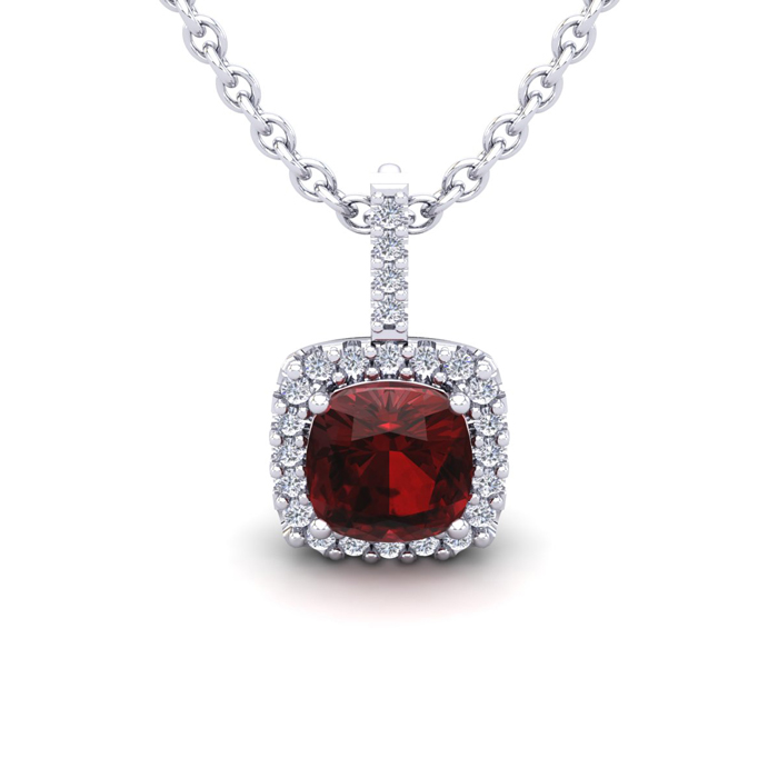 1.25 Carat Cushion Cut Garnet & Halo Diamond Necklace in 14K Whit