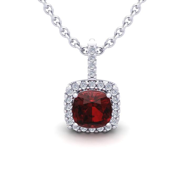 1.25 Carat Cushion Cut Garnet & Halo Diamond Necklace in 14K Whit