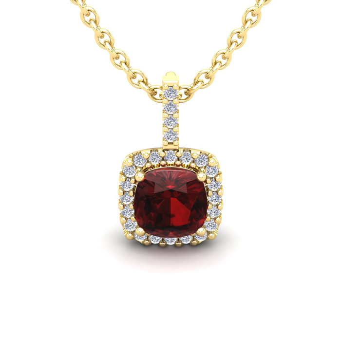 1.25 Carat Cushion Cut Garnet & Halo Diamond Necklace in 14K Yell