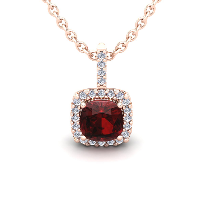 1.25 Carat Cushion Cut Garnet & Halo Diamond Necklace in 14K Rose