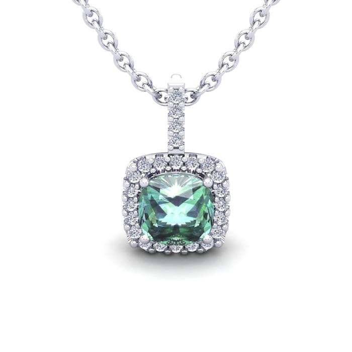 1 Carat Cushion Cut Green Amethyst & Halo Diamond Necklace in 14K